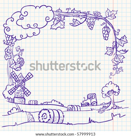 Autumn doodle frame with farm