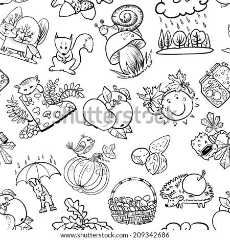 Autumn doodle seamless pattern - stock vector