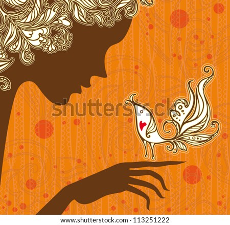 Autumn fairy. Elegant graphic design. Girl and a bird on the autumn background. - stock vector