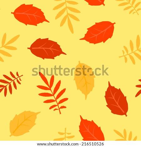 Autumn fallen different leaves vector seamless pattern - stock vector