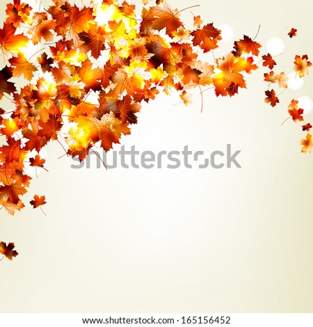 Autumn falling leaves background. And also includes EPS 10 vector - stock vector