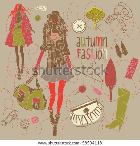 autumn fashion background - stock vector