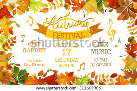Autumn Festival template. Bright colorful autumn leaves on horizontal white background. You can place your text in the center. - stock vector