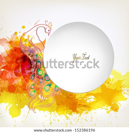 autumn flower with colorful elements, blots and place for your text. Vector design
