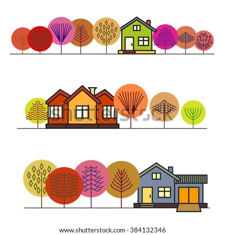 Autumn Forest In Colorful Trees House Cottage The Woods