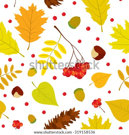 Autumn forest seamless pattern with rowan berries, leaves, acorn, chestnut, pine cone. Vector set. White background. - stock vector