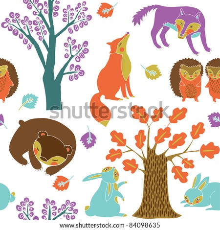 Autumn forest with cute animals - stock vector