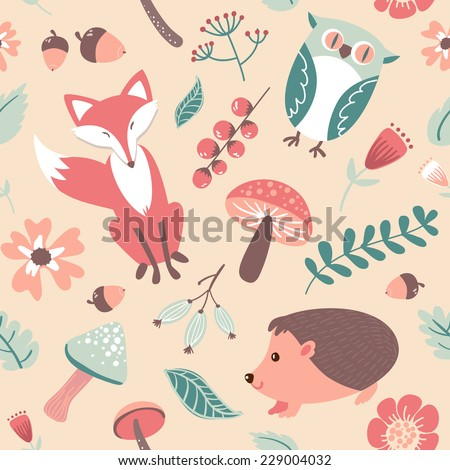 Autumn forest, woodland animals,leaves and flowers seamless pattern  - stock vector