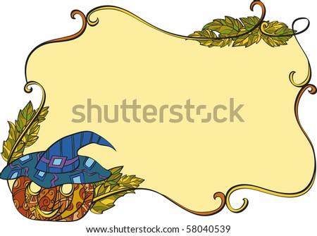 Autumn frame: vine, leafs, pumpkin.vector illustration - stock vector