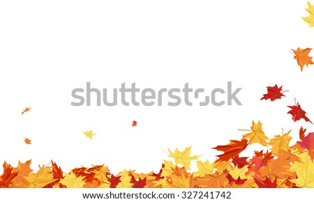 Autumn  Frame With Blowing Maple Leaves  Over White Background. Elegant Design with Text Space and Ideal Balanced Colors. Vector Illustration. - stock vector