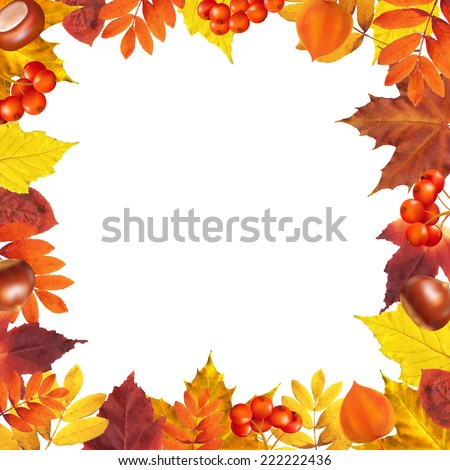Autumn Frame With Gradient Mesh, Vector Illustration - stock vector