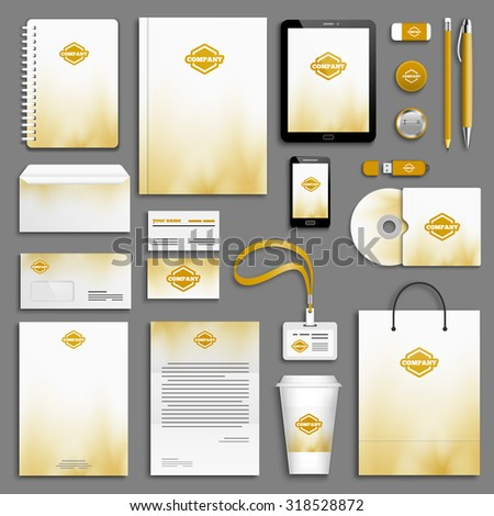 Autumn gold yellow Corporate identity template set. Business stationery mock-up with logo. Branding design.  - stock vector