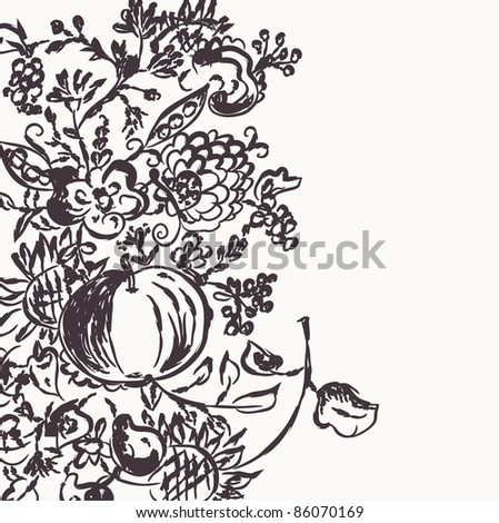 Autumn graphic template with flowers and fruits - stock vector