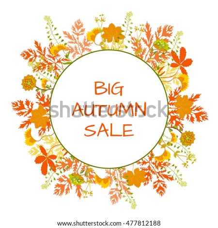 Autumn grass sale banners round stickers label price tag