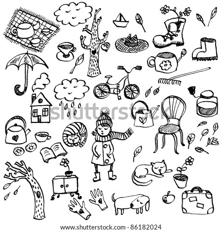 Autumn hand-drawn doodle set in cartoon style - stock vector