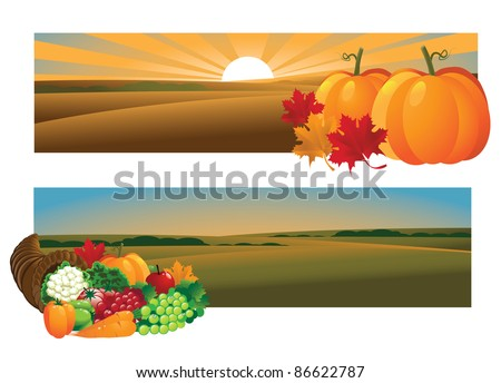 Autumn Harvest Banners EPS 8 vector, with no open shapes, strokes or transparencies. Grouped for easy editing. - stock vector