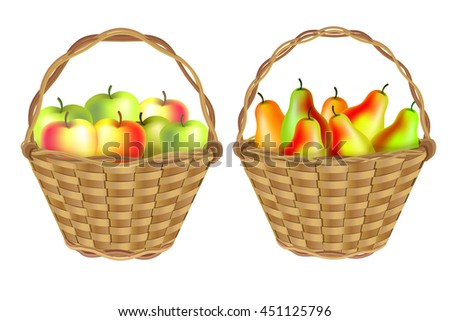 Autumn harvest: wicker baskets of apples and grapes. Isolated on white background.
