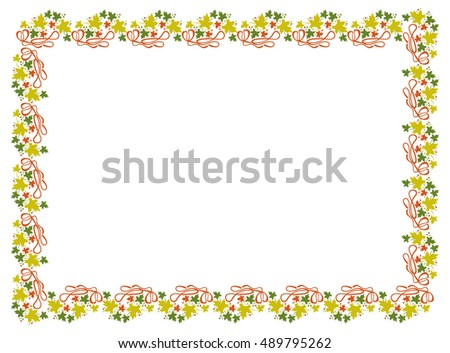 Autumn horizontal frame with colorful maple leaves. Vector clip art.