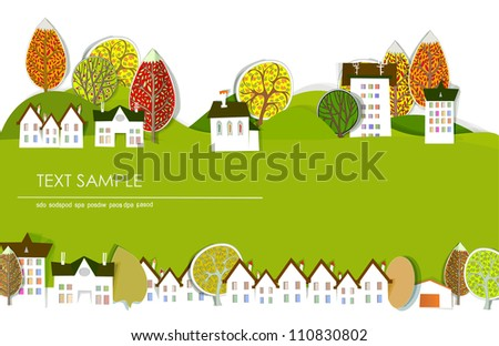 autumn in the city background - stock vector