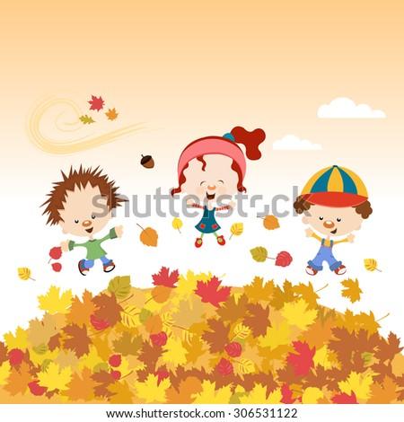 Autumn Kids - stock vector