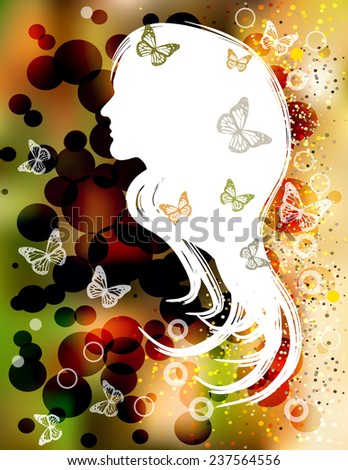 autumn lady silhouette with butterflies - stock vector