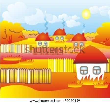 autumn landscape in the countryside - stock vector