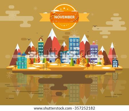 Autumn landscape. Small town. Set 2. Month of November. Infographics. Calendar. Mountain, nature, park, building, . Flat design. Stock. Image. Illustration. Vector. - stock vector