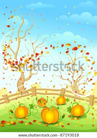 Autumn landscape. Vector illustration. - stock vector