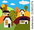 Autumn Landscape. Village on Hills with Houses and Trees. Vector Illustration. - stock vector
