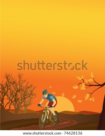 Autumn landscape with a mountain biker.  Please see also summer, spring and winter versions. - stock vector
