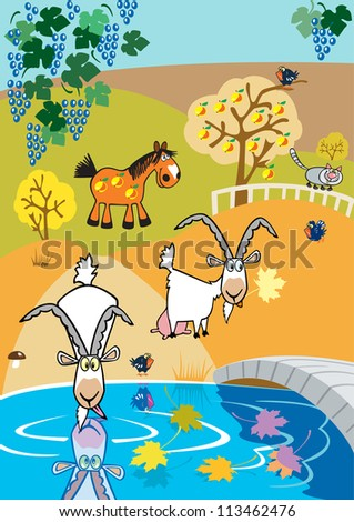 autumn landscape with goats and horse,children illustration with cartoon animal,colorful vector picture - stock vector