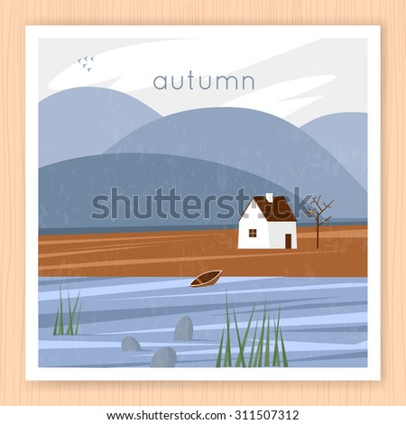Autumn landscape with the house and the river on a background of mountains. Flat design vector illustration. - stock vector