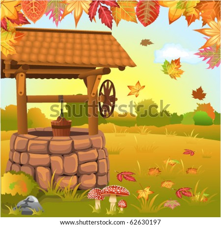 autumn landscape with well - stock vector