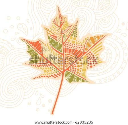 autumn leaf background - stock vector