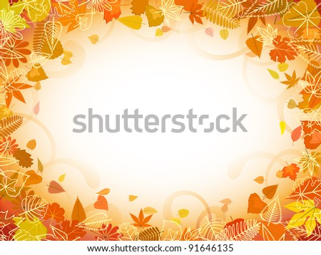 Autumn leaf frame with space for text - stock vector