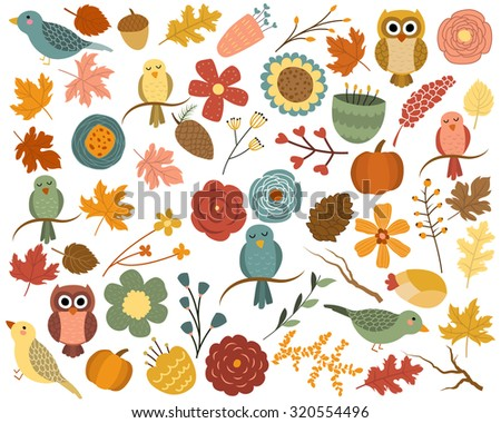 Autumn Leaves and Fall Floral Design Elements Vector - stock vector