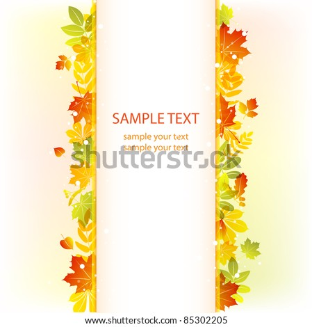 Autumn leaves background. vector banner - stock vector