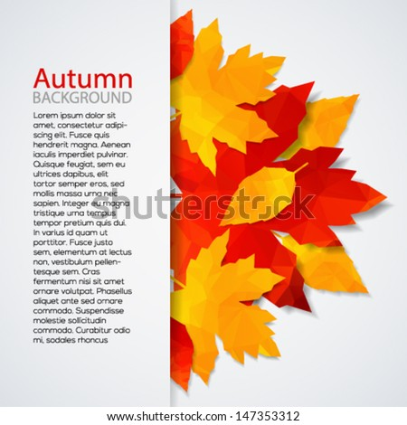 Autumn leaves background. Vector illustration template with place for your text. - stock vector