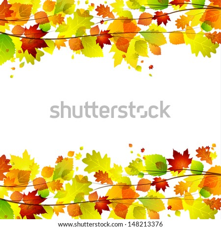 Autumn leaves background with space for text - stock vector