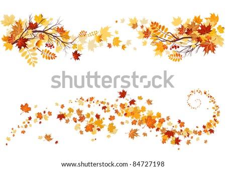 Autumn leaves border - stock vector