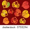 autumn leaves easy to change colors vector - stock vector