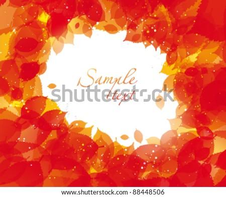 Autumn leaves frame - stock vector