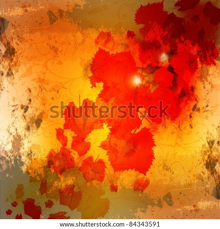 Autumn leaves grunge background - stock vector
