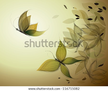 Autumn Leaves like Butterflies / Surreal sketch - stock vector