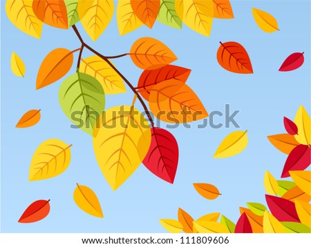Autumn leaves on a blue sky background. Vector illustration. - stock vector