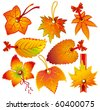 autumn leaves product price tag - stock vector