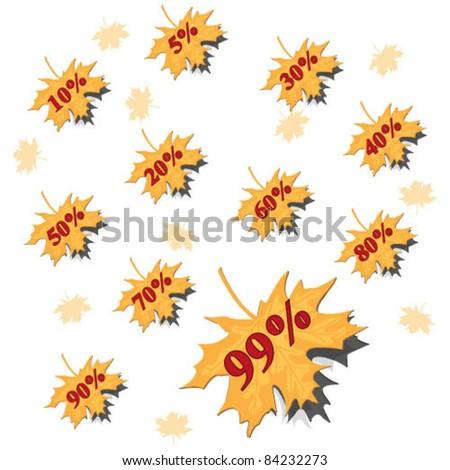 Autumn leaves sale. Autumnal discount. - stock vector