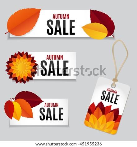Autumn Leaves Sale Background Vector Illustration EPS10 - stock vector