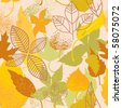 Autumn leaves seamless background - stock vector