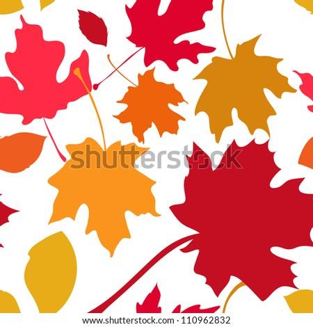 Autumn leaves seamless pattern. - stock vector
